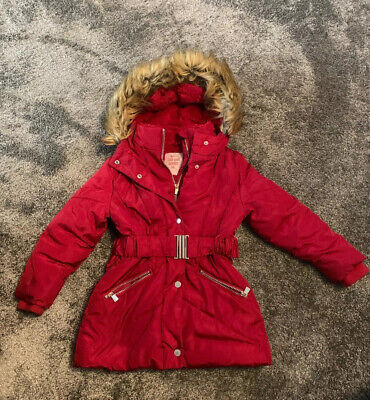 Tu Kids Girls Padded Hooded Red Belted Fur Lined Coat Jacket Age 5-6 Years