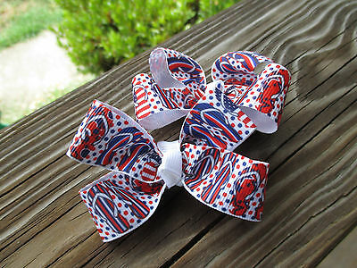 "thing 1 and 2 hair bows USA Hair Bows Two Med 2/"" red and white cat with a hat"