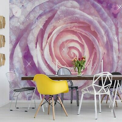 Rose Purple And Pink Photo Wallpaper Wall Mural Fleece Easy-Install Paper