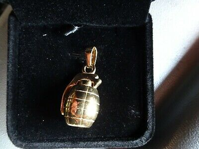 Details about  /Brand New 18ct Gold Over S925 Sterling Silver Heavy Grenade Pendant