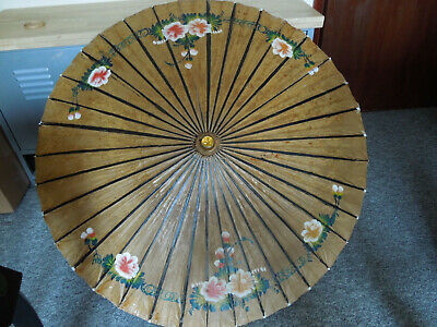 Vintage Delicate Japanese Wood and Oil Paper Parasol ~  Floral