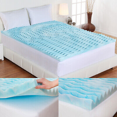 "Full Size Memory Foam Bed Topper 2"" Inch Cooling Comfort Sleep Mattress White"