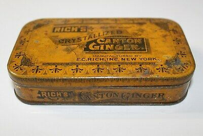 Antique Spice Tin Rich's Crystallized Canton Ginger EC Rich NY Country Primitive