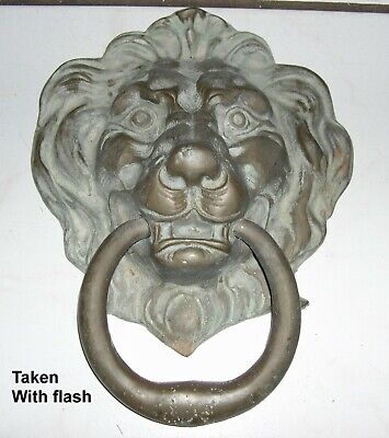 Large 10+ inches Heavy 5+ pounds Brass or Bronze Lion Head Door Knocker