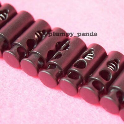 "Black Mini Cylinder (Hole = 3/16"") 2 Holes Cordlock Cord Lock Toggle Barrel End"