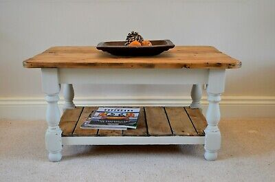 Country Farmhouse Style Pine Shabby Chic Grey Painted Coffee / Lounge Table