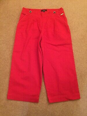 Girls Red M&S Marks Spencer Autograph Crop Smart Capri Trousers Age 10 11 years