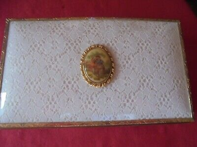 Ladies French vintage Musical box working Wood/lace Jewellery vgc