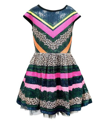 Hannah Banana Girls Size 14 Sequin Strip Leopard Tulle Dress New With Tags
