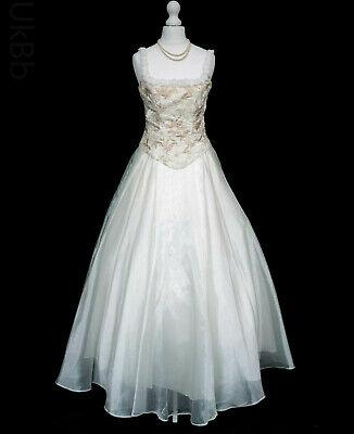 Vintage 1990s Wedding Dress 12 Gold Embroidered Victorian Princess Y2K 90s