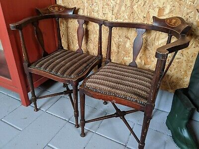 Antique Edwardian Pair Of Parlour Corner Armchairs Mahogany With Inlaid