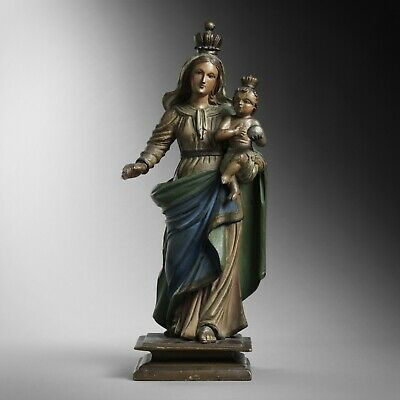 Antique 18th century carved wood Madonna & Child statue