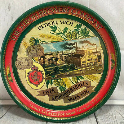 Rare Vintage Tin Metal Stroh Brewery Company Serving Tray!