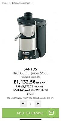 Santos SC-50 High Output Commercial Heavy Duty Juicer FREE UK POST +FREE RETURNS
