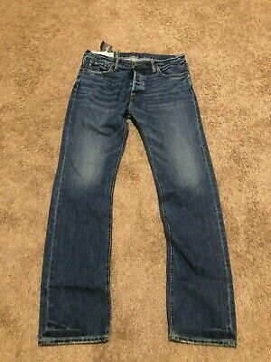 "NWT ABERCROMBIE & FITCH ""Remsen"" Low Rise Slim Straight Ripped Jeans 32 X 34"