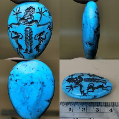 Old wonderful Turquoise stone intaglio King Lovely BEAD  # 115