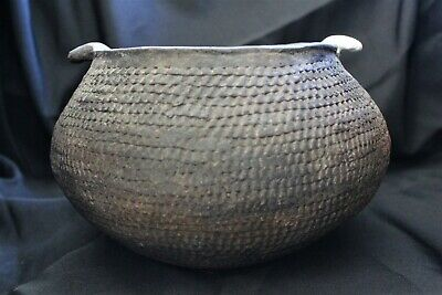Prehistoric Anasazi Corrugated jar with lugs, Large.
