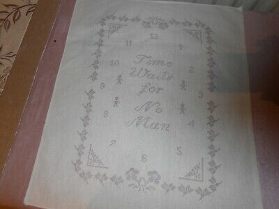 Pre printed cotton canvas for embroidery etc - Time Waits for No Man NEW