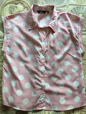 New Look Generation 915 Girls Age 14 Years Cropped Sheer Shirt Pink Spot