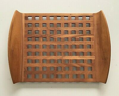 Vtg Dansk Mid Century Modern Teak Wood Lattice Serving Tray JHQ Jens Quistgaard