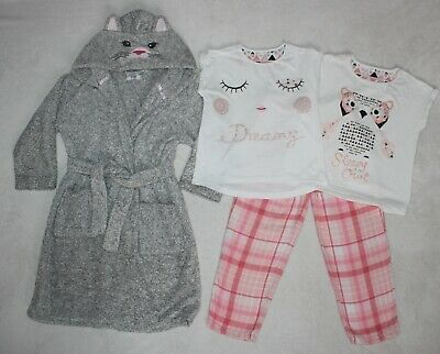 Bundle F & F Girls Fluffy Grey Cat Dressing Gown age 5-6 with Pj's