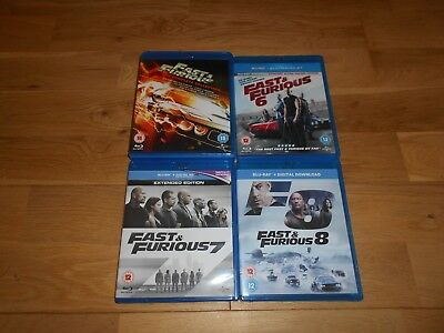 Fast & Furious 1-8 Complete Job Lot Bundle 1,2,3,4,5,6,7,8 Blu Ray