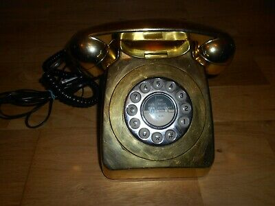 Vintage Bt Style Dial Look But Push Button Reka Gold Coloured Telephone Retro