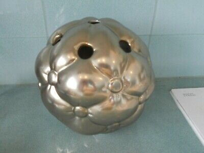 Unusual Large Pale Gold Ceramic Flower Arranging Florestry Ball / Sphere / Vase