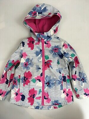 JOULES Coat Raincoat Age 2 Years Pink Blue White Floral Hood Fleece Lined Pocket
