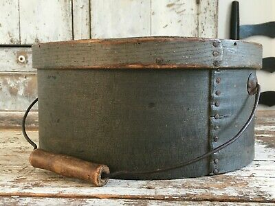 Rare Early Aafa Antique Primitive Pantry Box Wood Original Grey Gray Nails Paint