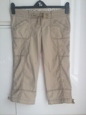 """Hollister Beige 3/4 Cargo Chino Combat Trousers Adjustable SIZE 1 W25"""" VGC"""