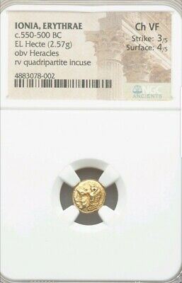 Ionia, Erythrae Heracles Hecte NGC Choice VF 3/4 Ancient Gold Coin