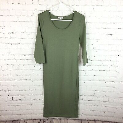 Zenana Premium Womens Medium Green 3/4 Sleeve Midi Dress Fitted Stretch Medium