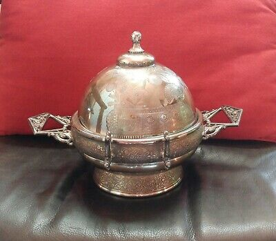 Victorian Aesthetic Movement Covered Butter Dish Silverplate Circa 1870s