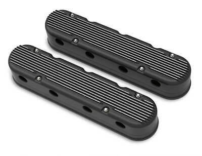 Holley 241-182 2-Pc LS Finned Valve Covers - Black Machined Finish