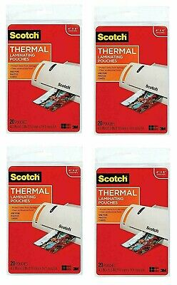 """4 NEW Packs Photo Size Thermal Laminating Pouches, 5 mil, 6"""" x 4"""", 20 per pack"""