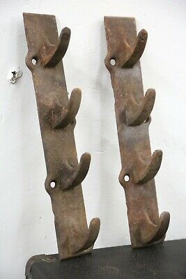 Antique Large Pair Signed Cast Iron Hook Brackets Hangers old farm industrial