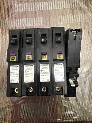 New Out Box Lot Of 5 Qty Square D QO120PDF 20A Plug-in Mount Dual Function GFCI