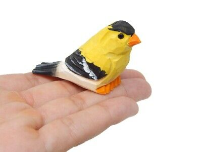 American Goldfinch - Wooden Hand Carved Miniature Bird Small Animal Figurine