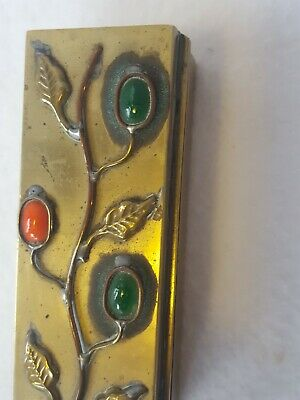 Vintage Brass Green Coral Stone Glass Floral Decorated Trinket Stamp Box China