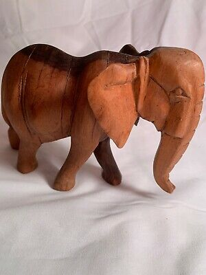 Vintage Hand Carved Wooden African Elephant Animal Figurine.