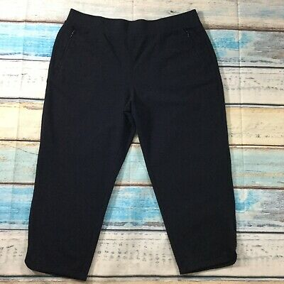 Talbots Womens Pants sz XL Extra Large Navy Blue Cropped Straight Capris Stretch