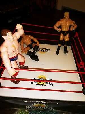 Wrestlemania Wrestling Ring lot with 3 Figures vintage rare wwe wwf Toys