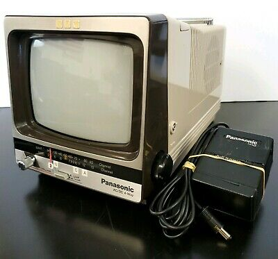 "Vintage 1983 Panasonic 5"" Portable TV TR-5110T & Adapter, Working Excellent!"