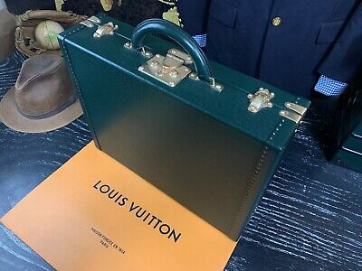 LOUIS VUITTON France Authentic Hard Sided Taiga Leather Briefcase Hard Case