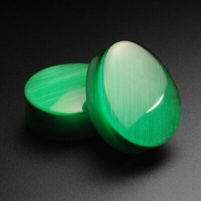 6mm-25mm PAIR GREEN SERPENTINE STONE EAR PLUGS CONCAVE DOUBLE FLARED GAUGES