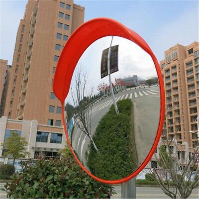 Red Wide Angle Convex Mirror Security Curved Road Traffic Driveway+Fitting Set
