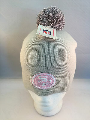 San Francisco 49Ers Grey New Uncuffed Knit Beanie Winter Hat Pom Top By Nfl
