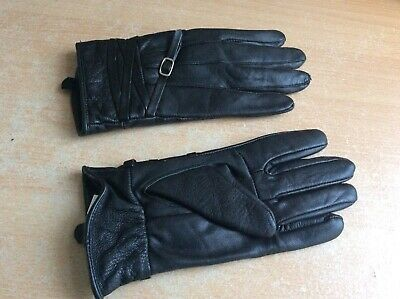 NEW Ladies Soft Black Leather Gloves size S