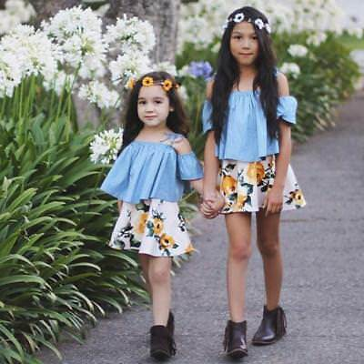Cute Toddler Kids Baby Girls Strap Off Shoulder Tops+Floral Skirt Clothes Chic